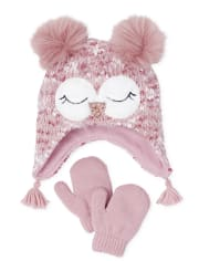 Toddler Girls Owl Hat And Mittens Set
