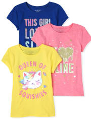 Girls Glitter Squishies Graphic Tee 3-Pack