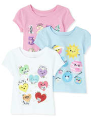 Baby And Toddler Girls Glitter Numbers Graphic Tee 3-Pack
