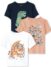 Baby And Toddler Boys Dino Graphic Tee 3-Pack