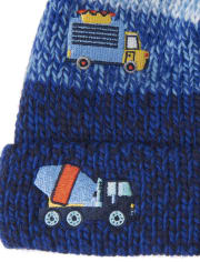 Toddler Boys Transportation Pom Pom Beanie And Mittens Set