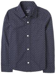 Boys Dot Poplin Button Down Shirt