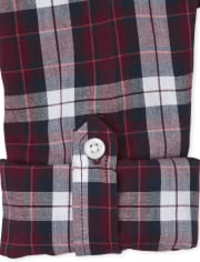Boys Plaid Poplin Button Down Shirt
