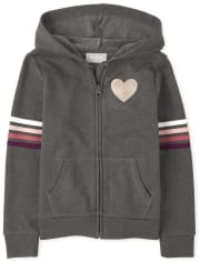 Girls Active Striped French Terry Zip Up Hoodie