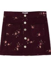 Girls Floral Button Corduroy Skirt