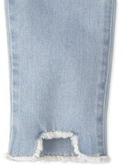 Girls Step Hem Distressed Denim Straight Jeans