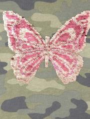 Girls Active Flip Sequin Butterfly Camo Sweatshirt