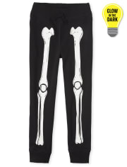 Pantalones jogger de esqueleto con brillo de Halloween para niños