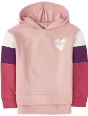 Top de legging con capucha y bloques de color de corazón activo para niñas