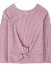 Girls Twist Front Lightweight Sweater Top