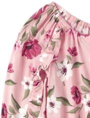 Girls Floral Ruffle Romper