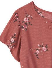 Girls Floral Peplum Top