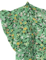 Girls Floral Pintuck Top