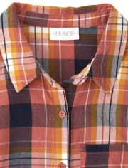 Womens Mommy And Me Plaid Matching Tie Front Button Down Shirt
