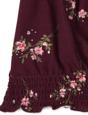 Girls Floral Smocked Peasant Top