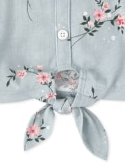 Girls Floral Button Down Tie Front Top