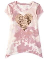 Top legging con estampado de corazón para niñas