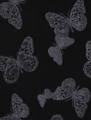 Girls Glitter Butterfly Leggings