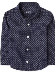 Baby And Toddler Boys Print Poplin Button Down Shirt