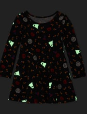 Baby And Toddler Girls Halloween Glow Skater Dress