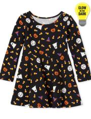 Vestido skater con brillo de Halloween para bebés y niñas pequeñas