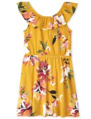 Girls Floral Ruffle Dress