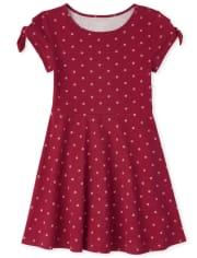 Girls Print Tie Sleeve Skater Dress