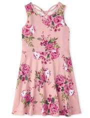 Girls Floral Cut Out Dress