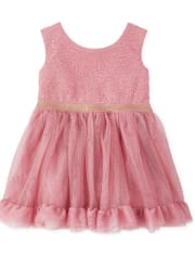 Baby And Toddler Girls Foil Knit To Woven Dress