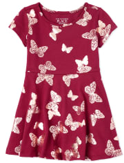 Baby And Toddler Girls Foil Butterfly Skater Dress
