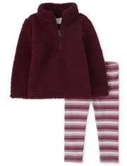Toddler Girls Striped Sherpa Outfit Set
