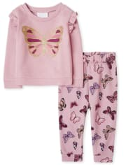 Toddler Girls Active Butterfly Outfit Set