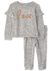 Toddler Girls Active Love Outfit Set