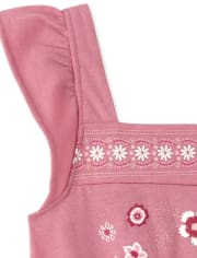 Baby And Toddler Girls Embroidered Floral Jumpsuit