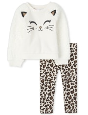 Toddler Girls Cat And Leopard Outfit Set