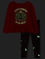Conjunto de traje brillante de Halloween para niñas pequeñas