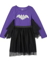 Girls Halloween Flip Sequin Bat Knit To Woven Dress
