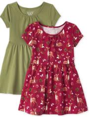 Toddler Girls Skater Dress 2-Pack