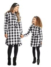 Vestido camisero a cuadros Buffalo Family a juego para niñas