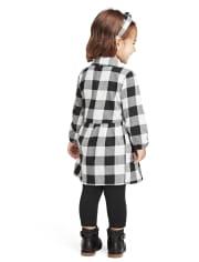 Vestido camisero a cuadros de búfalo de la familia a juego para niñas pequeñas