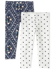 Toddler Girls Floral Leggings 2-Pack