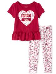Conjunto de conjunto de leggings florales para niñas pequeñas