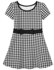Baby And Toddler Girls Houndstooth Ponte Knit Dress