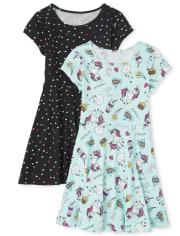 Pack de 2 vestidos skater Essential para niñas