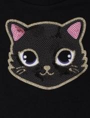 Toddler Girls Halloween Glitter Cat Outfit Set