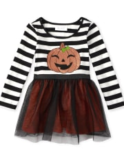 Baby And Toddler Girls Halloween Glitter Pumpkin Knit To Woven Dress