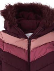 Girls Chevron Puffer Jacket