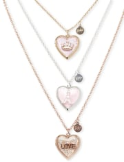 Collar con medallón de corazón para niñas, paquete de 3