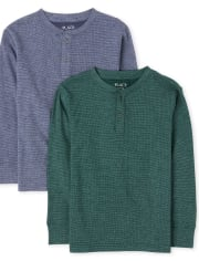 Boys Thermal Henley Top 2-Pack