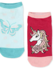 Girls Unicorn Ankle Socks 6-Pack